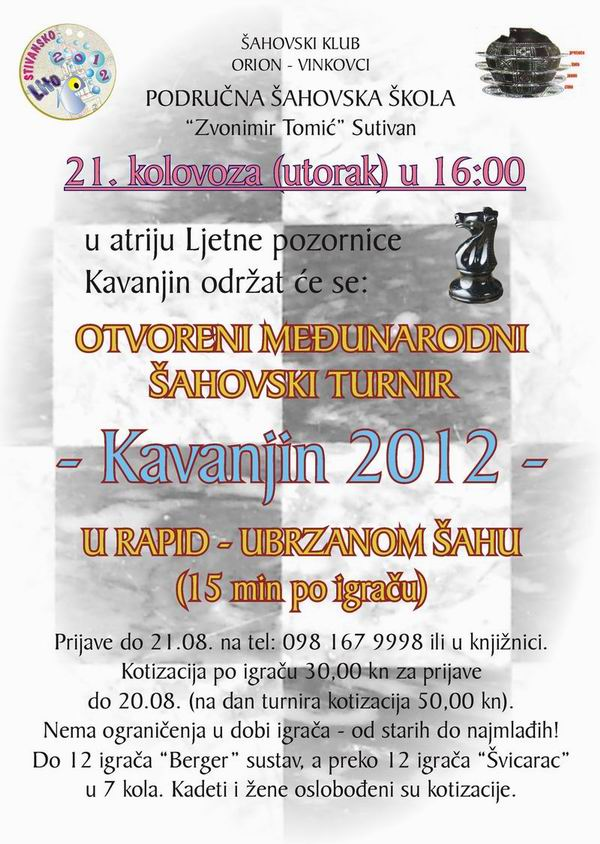 Raspis šahovskog turnira Kavanjin 2012